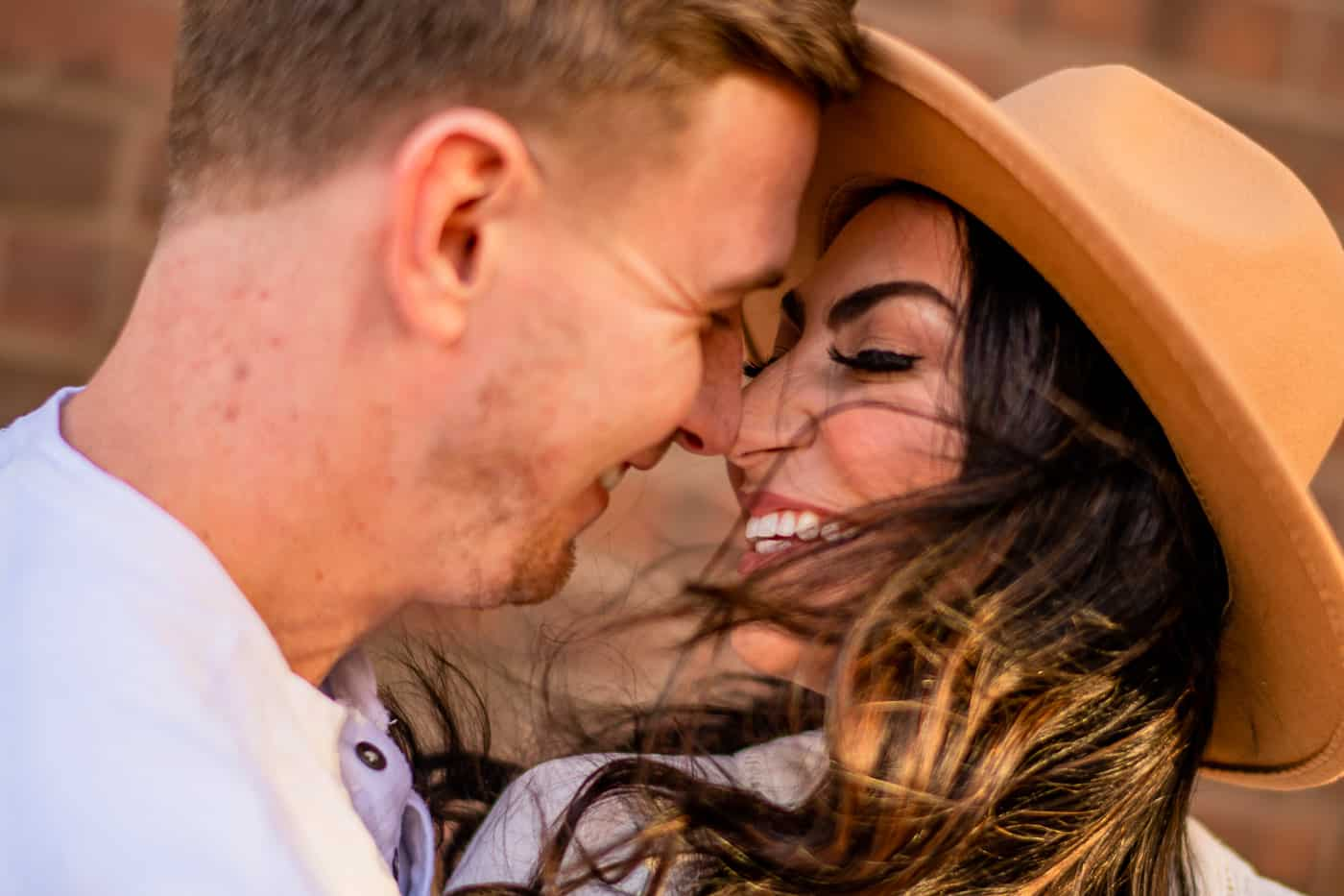 Windy engagement session in Philadelphia