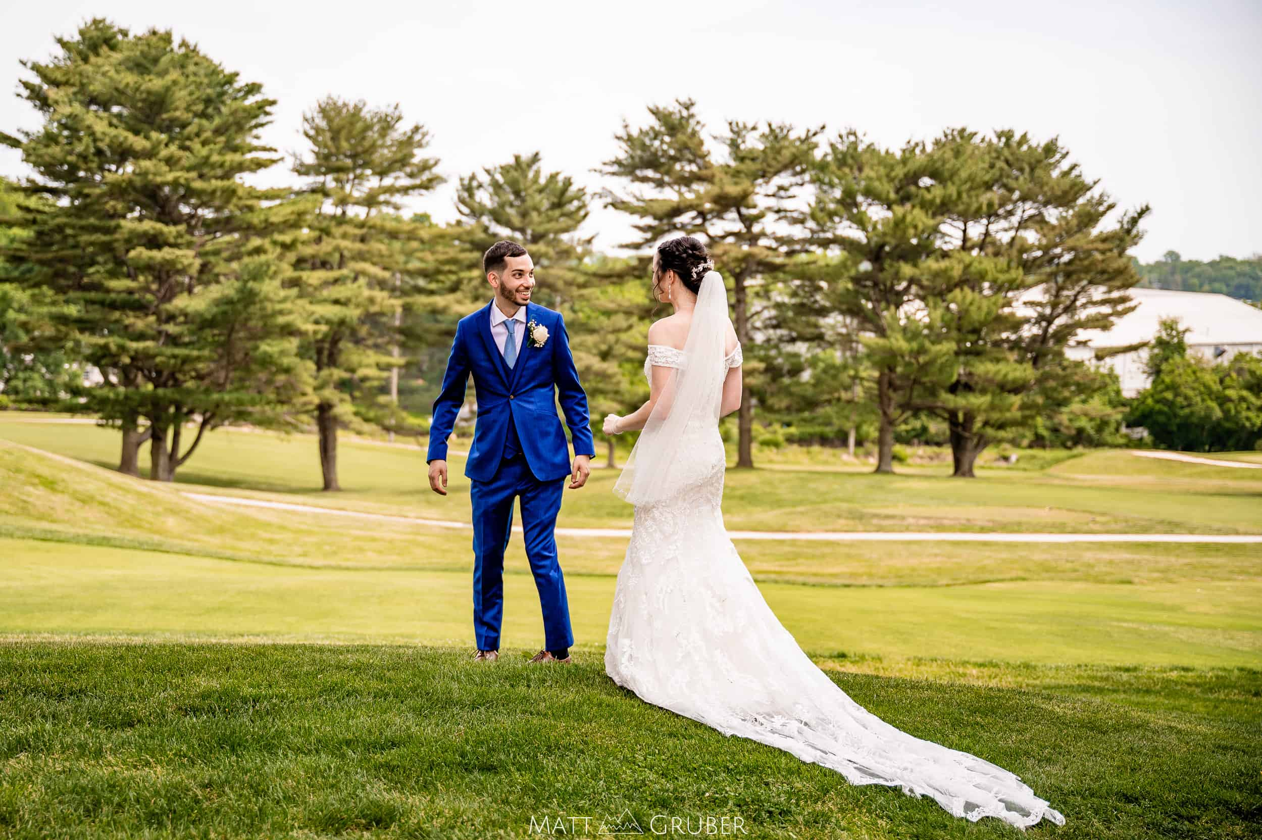 bride and groom first look at Springfield country club