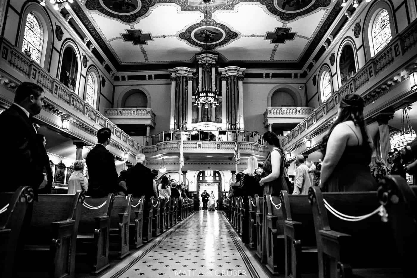 Bride and father entering St. Augustine's Church in Philadelphia