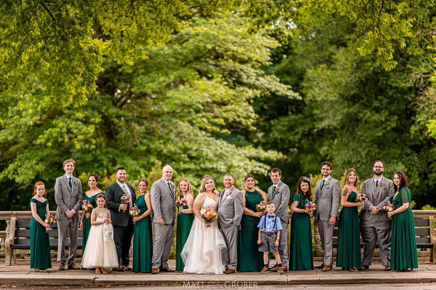 wedding party portrait at Curtis hall arboretum