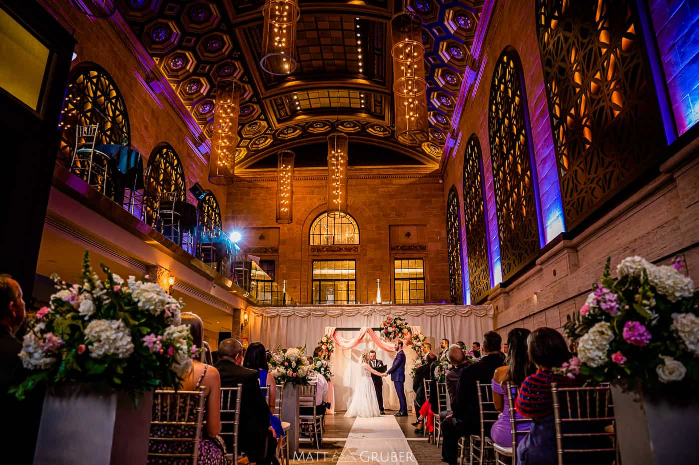 Wedding ceremony at Union Trust Ballroom by Finley Catering