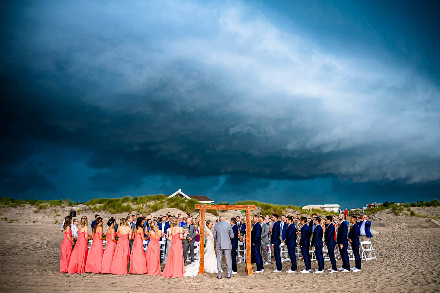 storm rolling through a wedding ceremony at ICONA Avalon